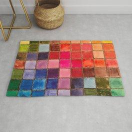 Rainbow Tiles Golden Mosaic Watercolor Palette Rug