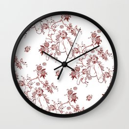 Penis Pattern RED Wall Clock