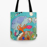 manatee Tote Bags featuring Manatee by reefscenesbygina