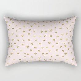 Pink Blush Gold Hearts Rectangular Pillow