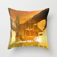 pirate ship Throw Pillows featuring Pirate ship  by nicky2342