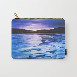 Lake Effect // Frozen Ice Water Sunset Mountain Landscape Photography Pink Purple Blue Clouds Carry-All Pouch