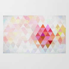 Abstract pink pastell triangle pattern- Watercolor illustration Rug