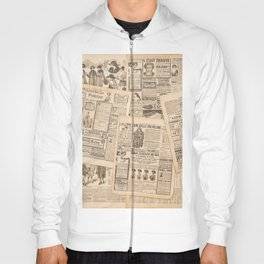 Newspaper pages with antique advertising. Fashion magazine for woman Hoody