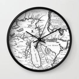Vintage Map of The Great Lakes (1755) BW Wall Clock