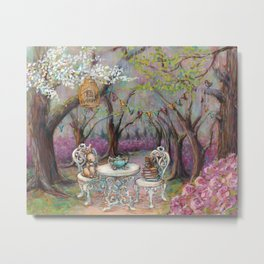 Vintage Woodland Tea Party Metal Print