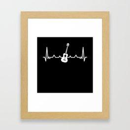 Ukulele Heartbeat Uke Love Funny Gift Framed Art Print