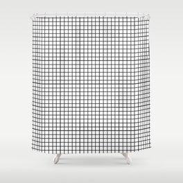 black & white grid Shower Curtain