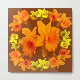 YELLOW SPRING DAFFODILS & COFFEE BROWN COLOR ART Metal Print