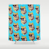 doge Shower Curtains featuring Polygonal Doge  by Michael Fortman