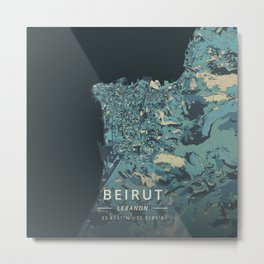 Beirut, Lebanon - Cream Blue Metal Print