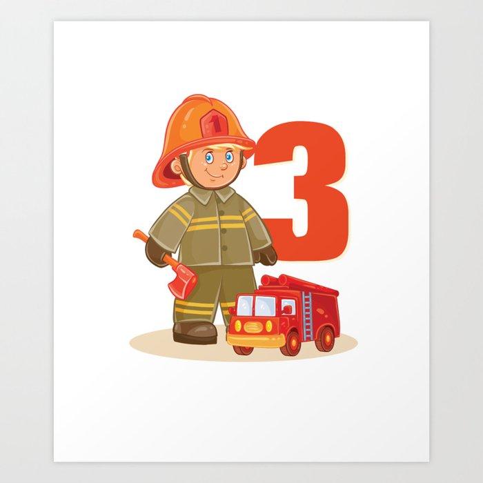 Fire Fighter Truck 3 Year Old Birthday Shirt 3Th 2005 Art Print