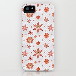 Cats on  red-orange flowers iPhone Case