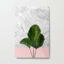 Palm Plant on Marble and Pastel Wall Metal Print