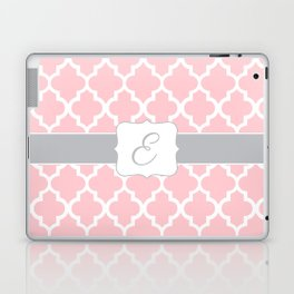 "Baby Pink Geometric Pattern with Silver ""E"" Monogram Laptop & iPad Skin"