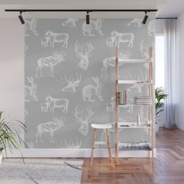 Woodland Critters in Grey Wall Mural