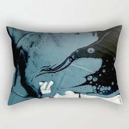 Fortune [5]: A bold, minimal, abstract mixed-media piece in blue and black Rectangular Pillow