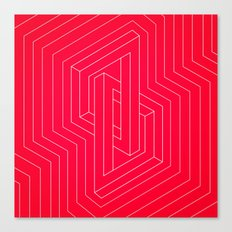 Modern minimal Line Art / Geometric Optical Illusion - Red Version  Canvas Print