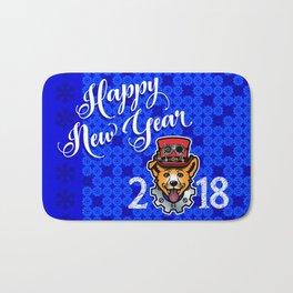 Happy New Year 2018 Yellow Dog Bath Mat