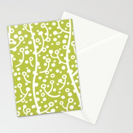 Mid Century Modern Spring Blossoms Chartreuse Green Stationery Cards