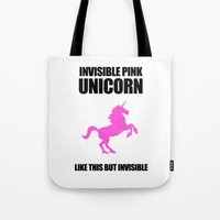 atheist Tote Bags featuring Invisible Pink Unicorn by Jez Kemp
