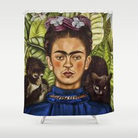 frida Shower Curtains featuring FRIDA by NOXBIL