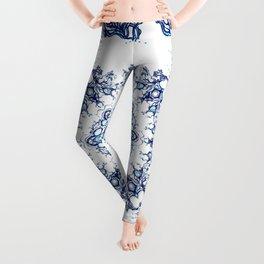 blue garden mandala Leggings