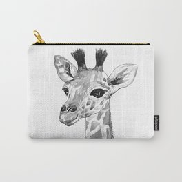 baby giraffe, black and white Carry-All Pouch