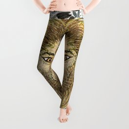 African Lion Leo damask, the big cats, neutral colors Leggings