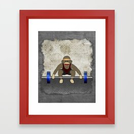 Sock Monkey Bodybuilder Framed Art Print