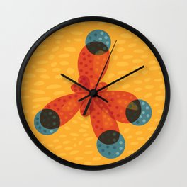 Orange Methane Molecule Wall Clock