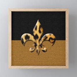 Leopard Fleur De Lis Symbol Framed Mini Art Print
