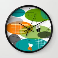 mid century modern Wall Clocks featuring Mid-Century Modern Atomic Ovals by Kippygirl
