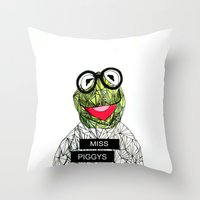 kermit Throw Pillows featuring Kermit The Frog by Doodalily Illustrations