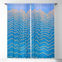 Abstract mountain line art in blue sky grunge textured vintage illustration background Blackout Curtain