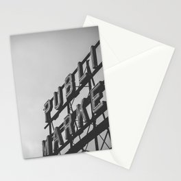 Seattle Pike Place Public Market Black and White Stationery Cards