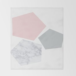 Blush, gray & marble geo Throw Blanket