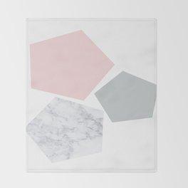 Blush, gray & marble geo Throw Blanket