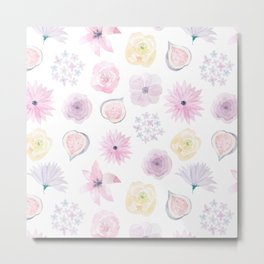 Pastel pink lilac watercolor hand painted floral pattern Metal Print