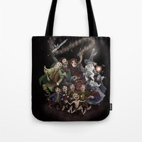 aragorn Tote Bags featuring The Happy Fellowship by Ginger Opal
