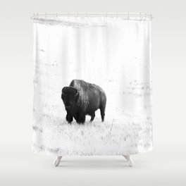 A Bison - Monochrome Shower Curtain