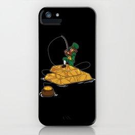 Leprechaun Fishing Gold Coins - Lucky Angler iPhone Case