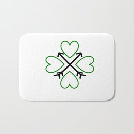 St. Patrick's Day Shamrock Lucky Charm Green Clover Veart with Arrows Bath Mat