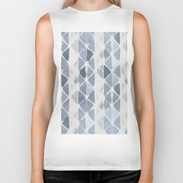Simply Braided Chevron Indigo Blue on Lunar Gray Biker Tank
