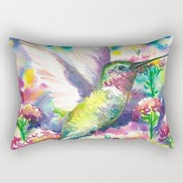 Hummingbird in flowers Rectangular Pillow