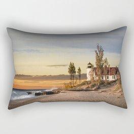 Point Betsie Lighthouse at Sunset on Lake Michigan near Frankfort Michigan No.66032 Fine Art Lightho Rectangular Pillow