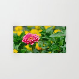 Pink flower, in green and yelow Hand & Bath Towel