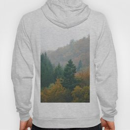 Foggy autumn forest layers disappearing in fog Hoody