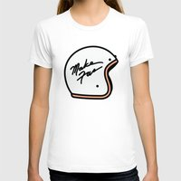 moto T-shirts featuring Make Fun Moto Helmet by Mick Bailey