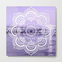 Water Mandala Lavender Metal Print